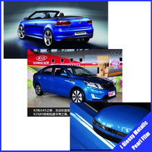 ROHS certificate glossy diamond pearl film 1.52X20M Air free bubbles auto wrap sticker  blue