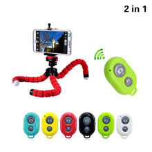 2in1 Car Phone Holder Wireless Bluetooth Remote Tripod Octopus Selfie Holder Stand Holder Mount for iPhone Xiaomi Lenovo HTC(China)
