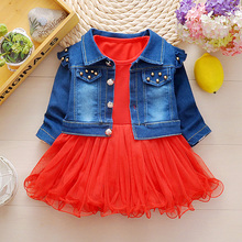 Newest 2017 Spring Autumn Baby Girls Clothes Sets Denim jacket+TUTU Dress 2 Pcs Kids Suits Infant Children Casual Suits