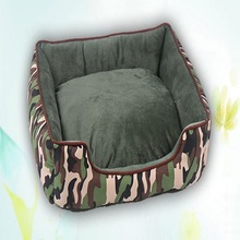 NUOYUFAN 50x40x14cm Camouflage Pet Bed Soft Cotton Warm Pets Kennel Square Nests Cat Dog Sleeping Mats