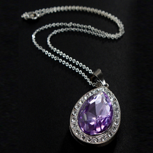 2017 Retail 1PC Sofia Amulet Purple/Pink Water Drop Chain Necklace for Kids Girls Dress Up Jewelry(China)