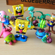 8pcs/lot Spongebob Action Figures Doll Patrick Star Squidward Tentacles  Crab Boss Fish Tank Cake Decoration Kids Gift Toys