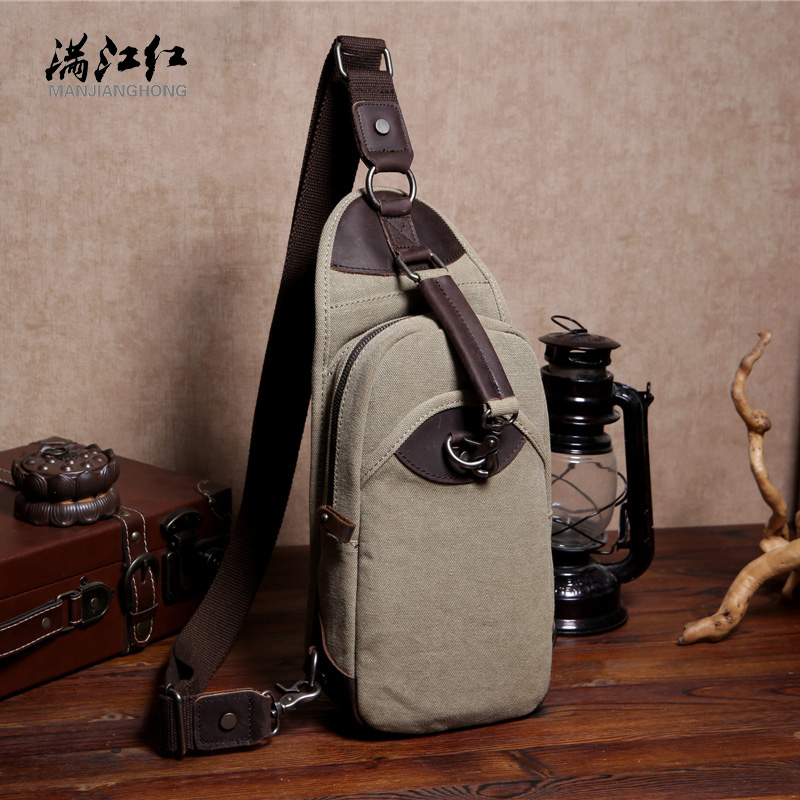 Messenger packet Mens fashion chest Pack Canvas Bag Cotton Products Casual Personality Crazy Horsehide Brown Handbag 1523<br><br>Aliexpress