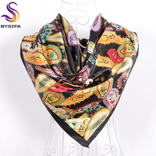 Black Cashew Satin Imitated Silk Scarf Shawl 2016 New Design Women Polyester Square Scarves All Match Muslim Headscarves Cape