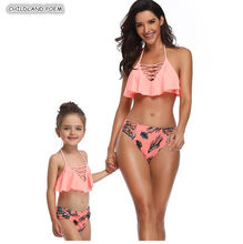 Mother And Daughter Swimsuit 2019 Family Look Mommy and Me Bikini Swimwear Family Matching Clothes Outfits Mom Daughter Clothes(China)