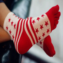 New Five Finger Socks for Men Striped Star Toe Socks Red White Fashion Casual Cotton Five Finger Socks Summer Gentleman  Male