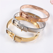 316L Stainless Steel Belt Buckle Bangles&Bracelets Openable Rose/ Gold/Silver Color Women Brand Jewelry Top Quality Wholesales