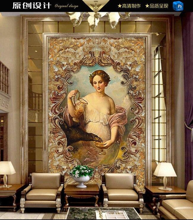 European Girl with eagle marble vestibule large mural 3D wallpaper living room bedroom TV backdrop painting 3D wallpaper<br>