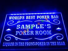 DZ044- Name Personalized Custom World's Best Poker Room Liquor Bar Beer Neon Sign hang sign home decor shop crafts(China)