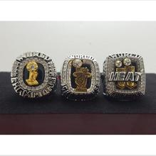One Set 3 PCS 2006 2012 2013 Miami Heat National Bakstball Championship Ring 10 Size Wade Name(China)