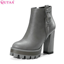 QUTAA 2018 Women Ankle Boots Zipper 스퀘어 (times square) (High) 저 (힐 Round Toe Westrn Style 플랫폼 All 경기 Women Motorcycle Boots Size 34-39(China)