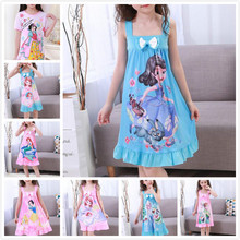 Drop Shipping Children Pajamas Camisole nightgown summer kids nightdress tracksuit girls cartoon housewear Pink Colour  DNS03