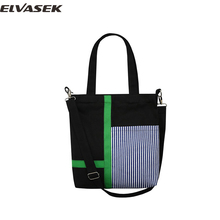 ELVASEK NEW Women canvas handbag fashion panelled canvas women messenger bag Multicolor optional casual concise package A3750/k(China)