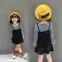 spring/fall/autumn 2016 new girls long sleeve striped top and vest dress 2 pcs sets fashion cotton casual Korean style kids kit