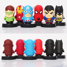 Cheap price 6pcs/lot SuperHeros The Avengers Spiderman SuperMan IronMan Batman Captain America Green Lantern PVC Figure Toy