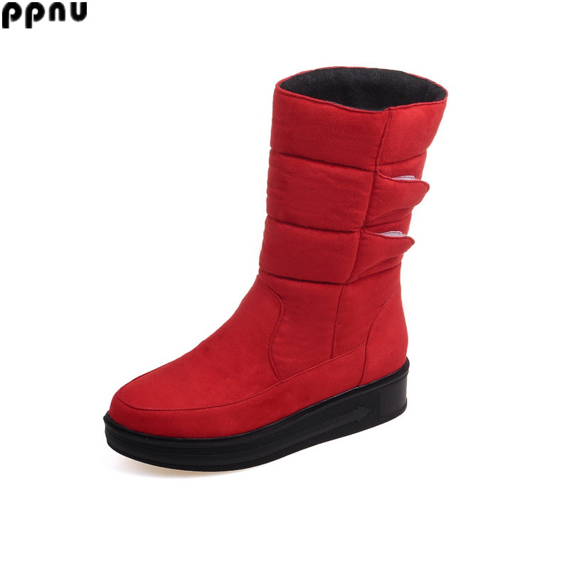 ppnu woman winter mid calf snow boots women fashion womens warm boots ladies flats half knee shoes female flats plus size 4-17<br><br>Aliexpress