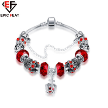 EPICFEAT Crown Bracelets with Safety Chain Silver Plated Pendant Crystal Red Beads Bracelet Charm Women Fashion Jewelry PDRH045