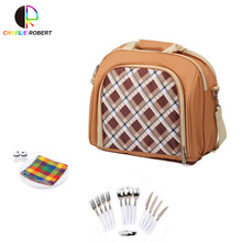 Luxurious Picnic Backpack, Picnic Bag Set Field Stainless Steel Cutlery Picnic Backpack Outing Necessary Camping Plates(China)