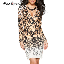MOQUEEN New Sexy Leopard Dress Women 2017 Fashion Print Deep V-Neck Autumn Dress Ladies Long Sleeve Bodycon Pencil Party Dresses(China)