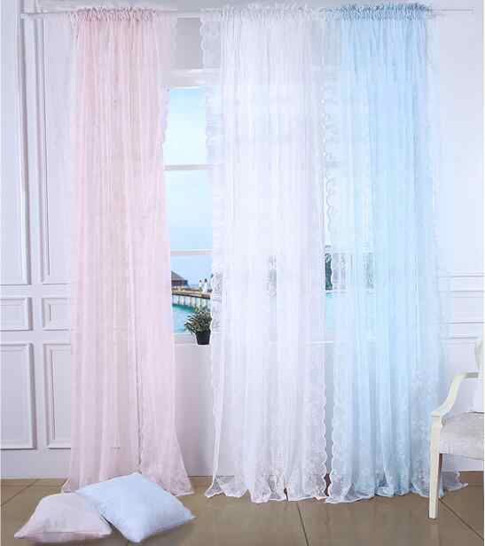 decoration European-style Pink Blue Green jacquard Gauze window tulle yarn voile blind sheer panels curtains for living room