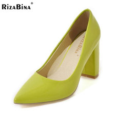 Buy RizaBina Size 33-43 Sexy Lady High Heel Shoes Women Pointed Toe Sold Color Thick Heels Pumps Party Wedding Club Women Footwears for $24.98 in AliExpress store