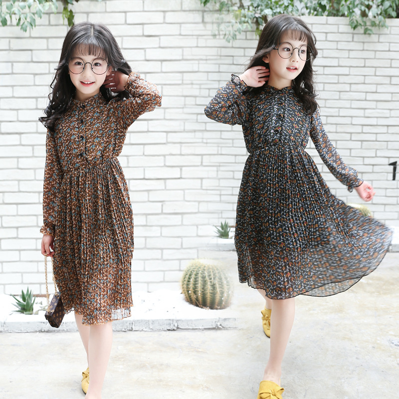 Spring Autumn Girl Chiffon Restore Shivering Long Spring Clothes Rendering Children Hot Dress Kids Clothing<br>