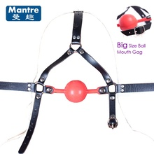 Buy Erotic Products Open Mouth Big Silicone Ball Gag, Fetish Slave Gaged Oral Fixation Head Bondage Sex Toys Couples Adult Game