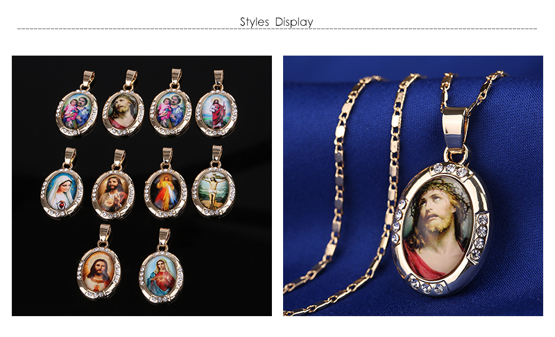 AYAYOO Necklaces&Pendants Gold Color Jesus Virgin Mary Necklace Women Chain Fashion Long Necklace Wedding Men Vintage Necklaces (5)