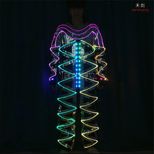 TC-172A Full color led mirror dance clothes ballroom led costumes stage light RGB colorful fiber light men robot wears suit led(China)