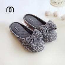 Millffy spring slipper star needle paper bow Home Furnishing slippers skid office ladies cotton slippers
