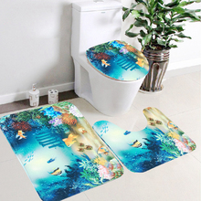 46*70cm Toilet Mat Three-piece Suit Bibulous Caroset 3D Sea World Bathing Mat Towel U/O shape Blanket Pad Bathroom Decoration
