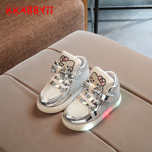 KKABBYII New Spring Autumn Winter Children's Sneakers Kids Shoes Chaussure Enfant Hello Kitty Girls Shoes With LED Light(China)