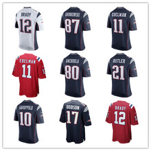 Men's Julian Edelman Malcolm Butler Rob Gronkowski Tom Brady Danny Amendola Chris Hogan Mitchell Custom Patriots Game Jerseys(China)