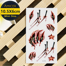 Halloween Wound/Scab/Blood Flash Tattoo Sticker Henna Temporary Body Art Free Shipping 1pc Waterproof Temporary Tattoo Sticker