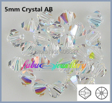 Free Shipping! 576pcs/Lot, AAA Chinese Top Quality 5mm Crystal AB / Clear AB Crystal Bicone Beads(China)