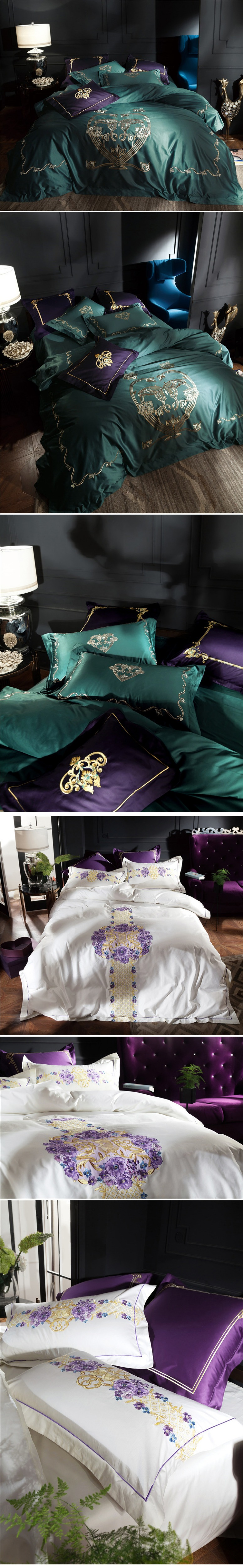 Luxury bedding sets 4pcs supima cotton duvet cover Chinese embroidery bed sheet home textile 6