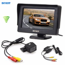 DIYKIT Wireless 4.3 Inch Color Car Monitor + Waterproof IR Night Vision HD Rear View Car Camera Parking Assistance System(China)