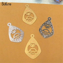 BoYuTe 100Pcs 14*22MM Brass Filigree Water Drop Pendant 2 Colors Diy Etched Sheet Pendant Charms for Necklace Jewelry Making