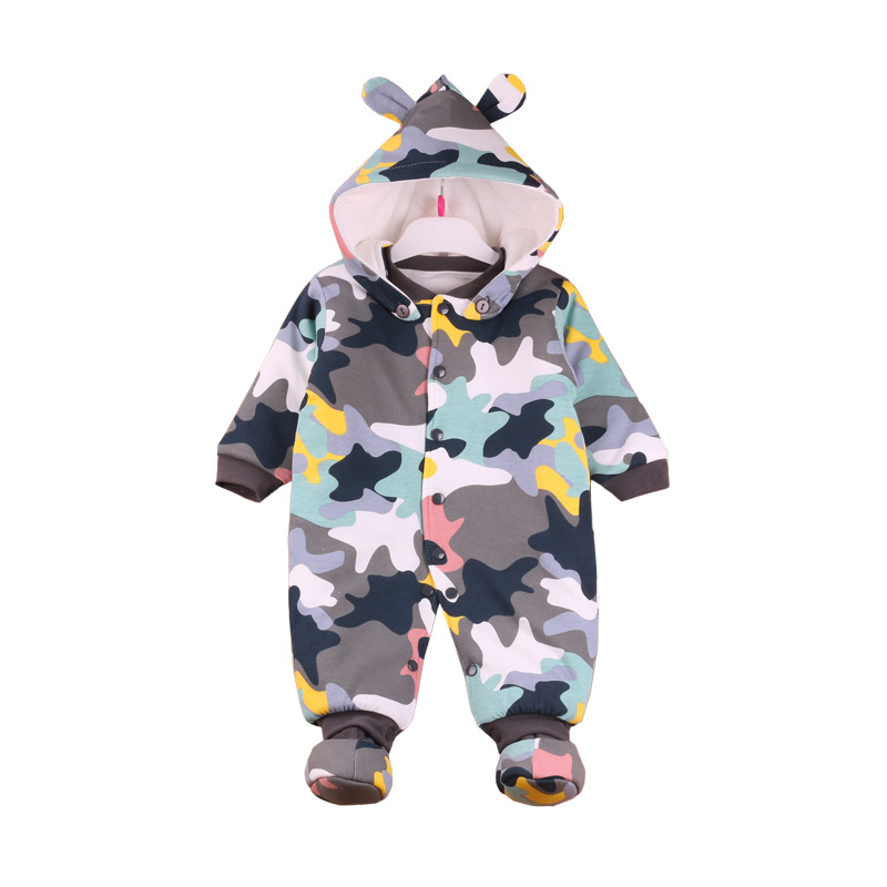 0~12M Baby Clothing Rompers Baby Boy Clothes Snowsuit Outwear Cute Cartoon Cotton Thickening Baby Girl Rompern Autumn Winter V20<br>