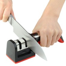 2 Stages Stainless Steel Ceramic Sharpening Stone Handle Scissor Knife Sharpener Non-Slip Base Knife Accessories Kitchenware
