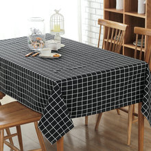 Free shipping modern simple canvas black/white/gray plaid table cloth rectangular many sizes striped fabric dustproof tablecloth(China)
