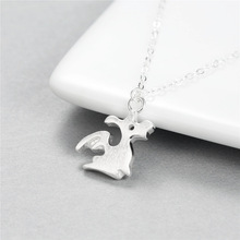 Flying Cute Dinosaur Dragon women 100% 925 Sterling silver nacklace Jewellery Clavicle chain pendant charms Bijoux Femme(China)
