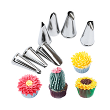 7 pcs  tips nozzles Creative Icing Piping Nozzle Pastry Tips Sugar Craft Cake Decorating Tools for make flower leaves