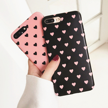 For iPhone 7 6S 6 Plus Case Black Pink Peach Love Heart Korea Candy Silicon Soft Phone Back Cover for iPhone 6 Cases Fundas Capa