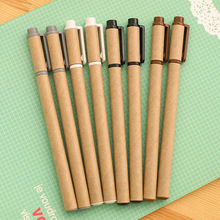 4 Pcs / Pack Korea Stationery Creative Minimalist Kraft Paper Tube Gel Pen Creative Pen Signature Pen Office And School Supplies
