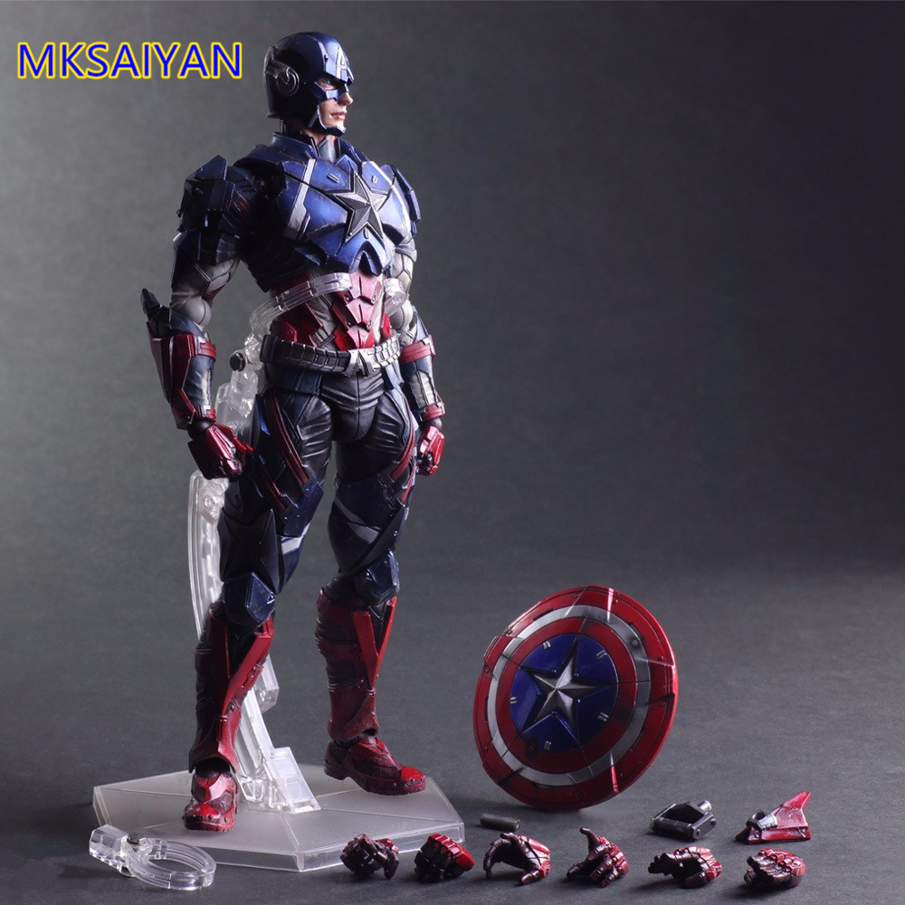 Captain America Action Figure Play Arts Kai Anime Steve Rogers Captain Marvel Figure Collectible Model Toys Gift XM