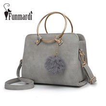 FUNMARDI Metal Ring Handle PU Leather Handbags Fashion Women Messenger Bag Vintage Women Bags Female Shoulder Bag WLHB1641(China)
