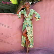 Buy Adogirl 2018 Spring Floral Print Bohemian Dress Women Sexy Deep V Neck 3/4 Flare Sleeve High Slit Casual Maxi Beach Dresses for $16.00 in AliExpress store