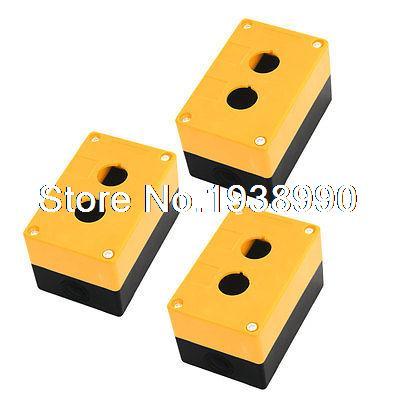 3PCS Double Hole 22mm Dia Protective Push Button Switch Box Case Orange Black<br><br>Aliexpress