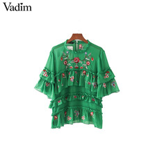 Vadim women sweet ruffles floral embroidery chiffon shirts half sleeve o neck blouse ladies casual fashion tops blusas DT1086